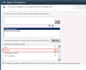 "BCS - Giving ""Execute"" permission to BCS users"