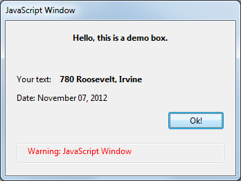 JavaScript dialog box with data from the form field and current date