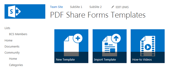 PDF Share Forms 3.0 for SharePoint 2013