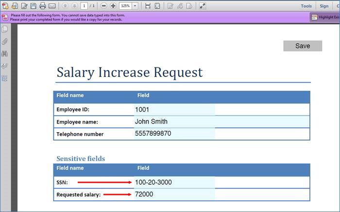 SharePoint Secured Columns And PDF Forms  Pay Increase Form