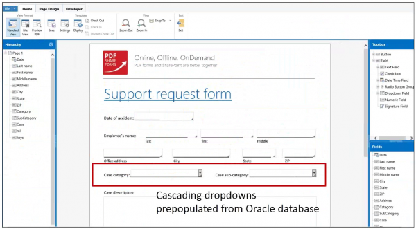 rm with prepopulated fields from oracle db