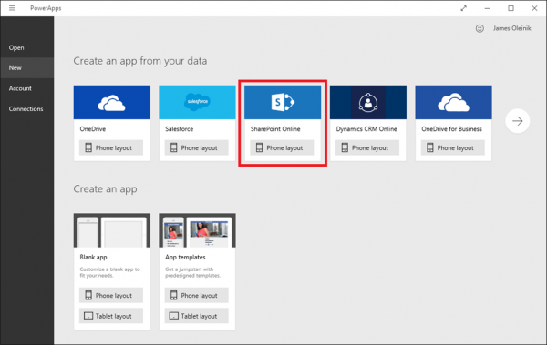 Microsoft PowerApps Create New App Data Sources