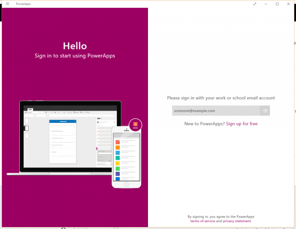 Microsoft PowerApps Hello Screen