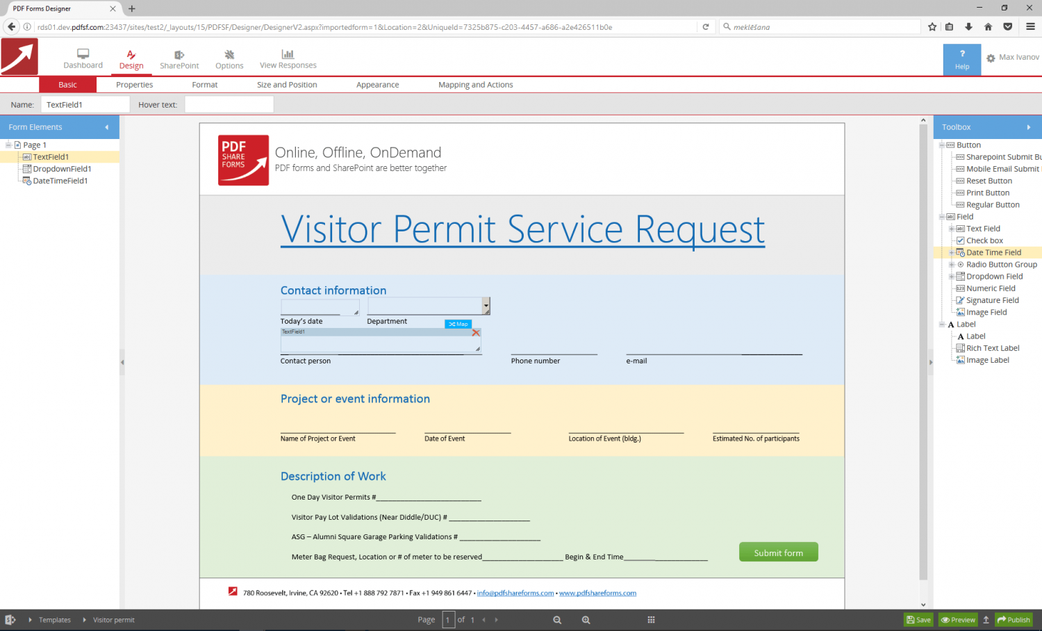 Create a form in SharePoint: Interactive PDF form integration with ...