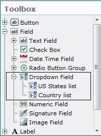 Dropdown field in the toolbox PDF Share Forms for SharePoint