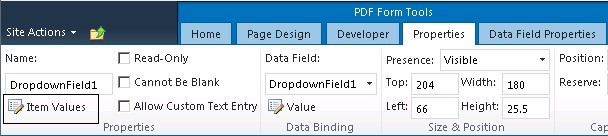 Dropdown properties PDF Share Forms for SharePoint
