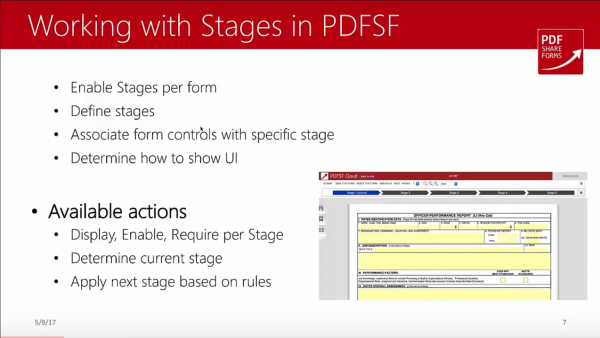 SharePoint forms - magic of stages - working with stages in PDFSF Cloud