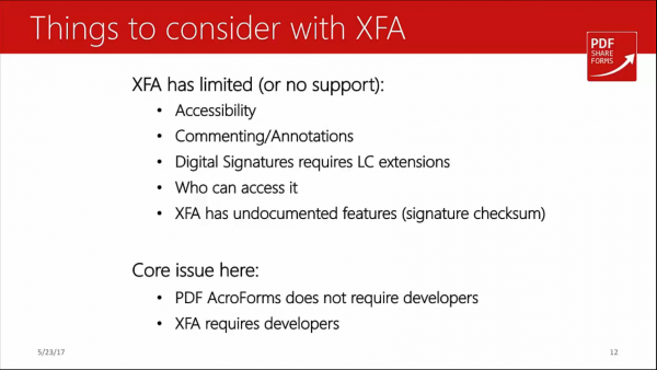 Acroforms vs XFA - XFA limitations
