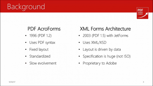 Acroforms vs XFA - format development history