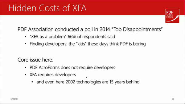 Acroforms vs XFA - hidden costs of XFA