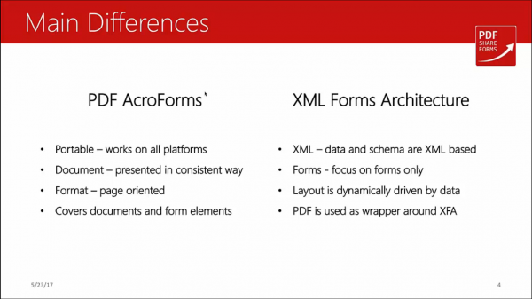 Acroforms vs XFA - main differences