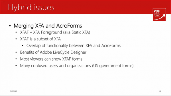 Acroforms vs XFA - merging xfa and acroforms
