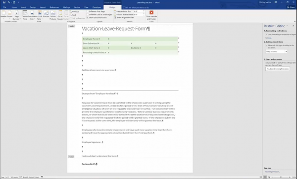 Forms for SharePoint - Word form layout revision 2