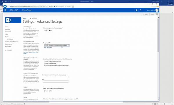 Forms for SharePoint - change word template url