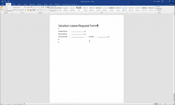 Forms for SharePoint - initial word form