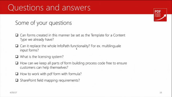 Forms for SharePoint - questions and answers