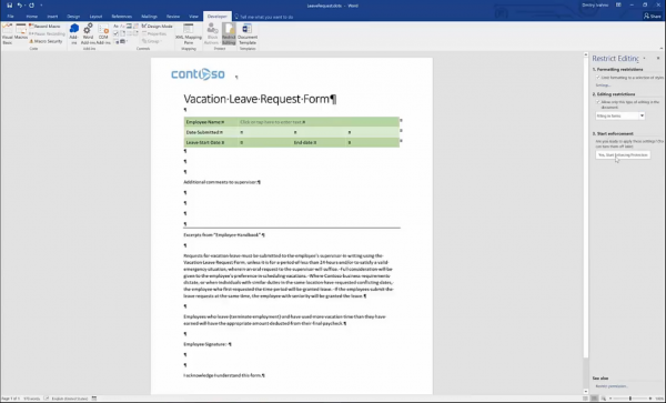Forms for SharePoint - restrict editing for Word forms