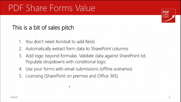 Forms for SharePoint - value of PDF Share Forms