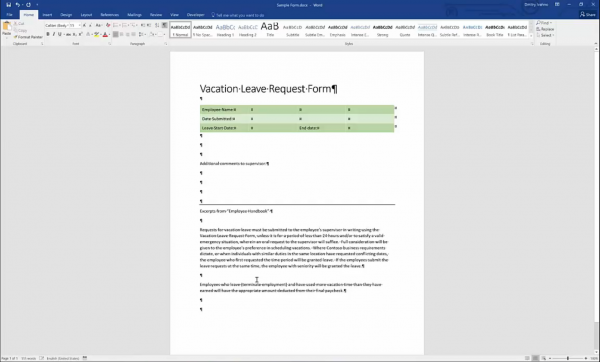 Forms for SharePoint - word form with a layout