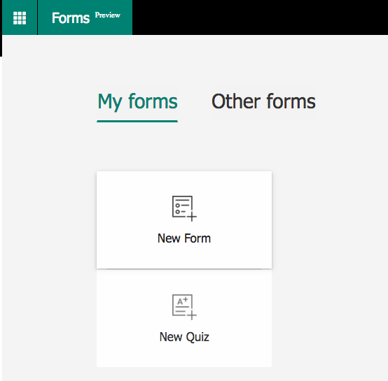 Microsoft forms - create new form