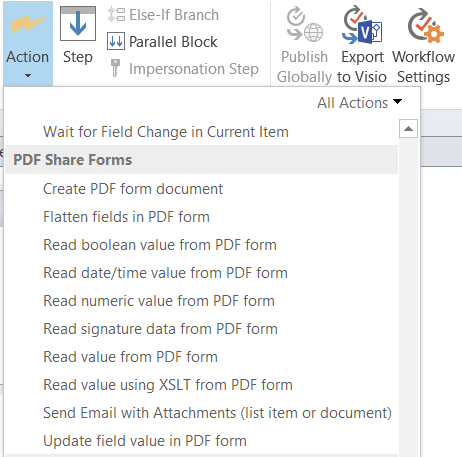SharePoint forms and workflows - PDF workflow actions Enterprise