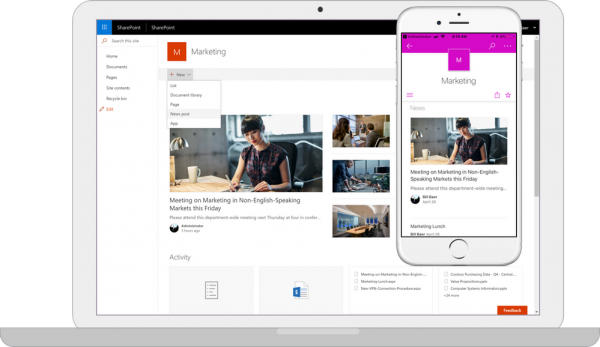 SharePoint Server 2019 Team Site on a PC and mobile device side-by-side